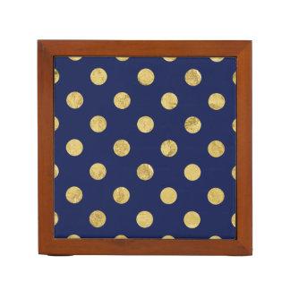 Elegant Gold Foil Polka Dot Pattern - Gold & Blue Desk Organiser