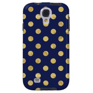 Elegant Gold Foil Polka Dot Pattern - Gold & Blue Galaxy S4 Case