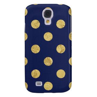Elegant Gold Foil Polka Dot Pattern - Gold & Blue Galaxy S4 Cover