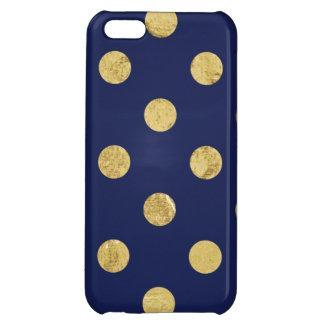 Elegant Gold Foil Polka Dot Pattern - Gold & Blue iPhone 5C Covers