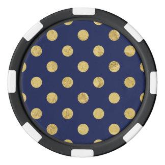 Elegant Gold Foil Polka Dot Pattern - Gold & Blue Poker Chips