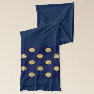 Elegant Gold Foil Polka Dot Pattern - Gold & Blue Scarf