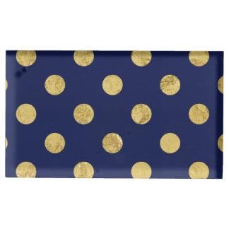 Elegant Gold Foil Polka Dot Pattern - Gold & Blue Table Card Holder