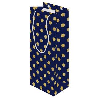 Elegant Gold Foil Polka Dot Pattern - Gold & Blue Wine Gift Bag