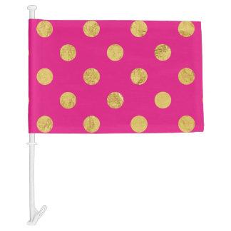 Elegant Gold Foil Polka Dot Pattern - Gold & Pink Car Flag