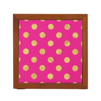 Elegant Gold Foil Polka Dot Pattern - Gold & Pink Desk Organiser