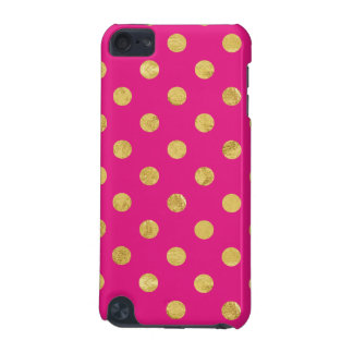Elegant Gold Foil Polka Dot Pattern - Gold & Pink iPod Touch (5th Generation) Case