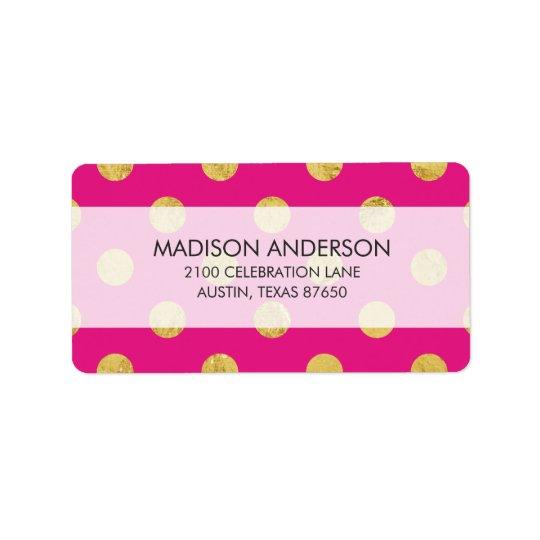 Elegant Gold Foil Polka Dot Pattern - Gold & Pink Label