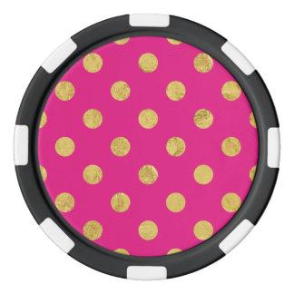Elegant Gold Foil Polka Dot Pattern - Gold & Pink Poker Chips