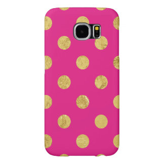 Elegant Gold Foil Polka Dot Pattern - Gold & Pink Samsung Galaxy S6 Cases