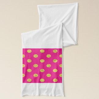 Elegant Gold Foil Polka Dot Pattern - Gold & Pink Scarf