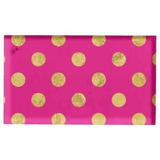 Elegant Gold Foil Polka Dot Pattern - Gold & Pink Table Card Holder