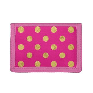 Elegant Gold Foil Polka Dot Pattern - Gold & Pink Tri-fold Wallets