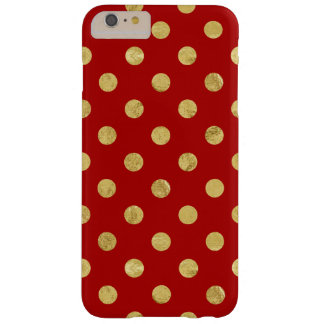Elegant Gold Foil Polka Dot Pattern - Gold & Red Barely There iPhone 6 Plus Case