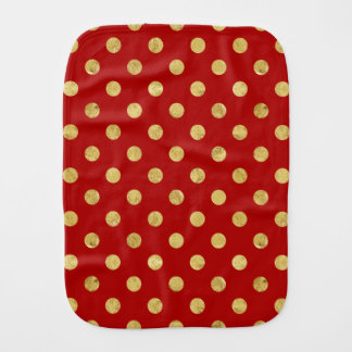 Elegant Gold Foil Polka Dot Pattern - Gold & Red Burp Cloth