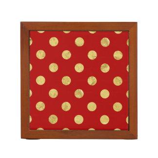 Elegant Gold Foil Polka Dot Pattern - Gold & Red Desk Organiser