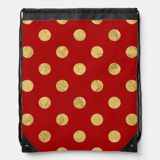 Elegant Gold Foil Polka Dot Pattern - Gold & Red Drawstring Bag