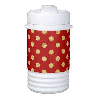 Elegant Gold Foil Polka Dot Pattern - Gold & Red Drinks Cooler