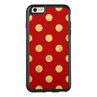 Elegant Gold Foil Polka Dot Pattern - Gold & Red OtterBox iPhone 6/6s Plus Case