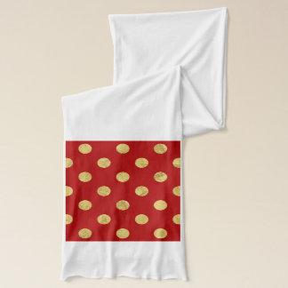 Elegant Gold Foil Polka Dot Pattern - Gold & Red Scarf