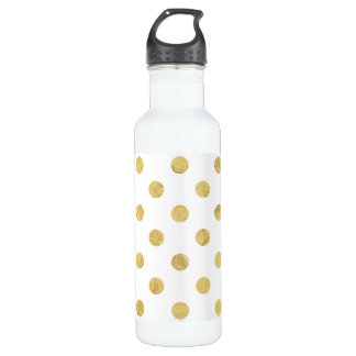 Elegant Gold Foil Polka Dot Pattern - Gold & White 710 Ml Water Bottle