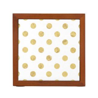 Elegant Gold Foil Polka Dot Pattern - Gold & White Desk Organiser