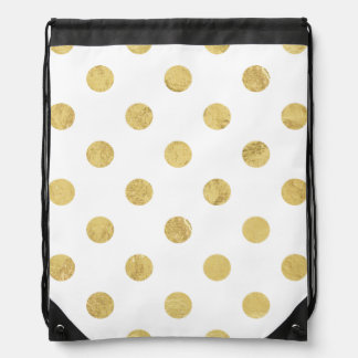 Elegant Gold Foil Polka Dot Pattern - Gold & White Drawstring Bag