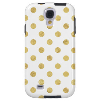 Elegant Gold Foil Polka Dot Pattern - Gold & White Galaxy S4 Case