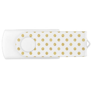 Elegant Gold Foil Polka Dot Pattern - Gold & White USB Flash Drive
