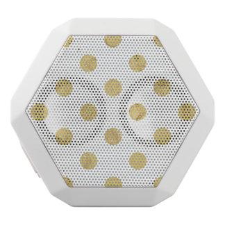 Elegant Gold Foil Polka Dot Pattern - Gold & White White Bluetooth Speaker