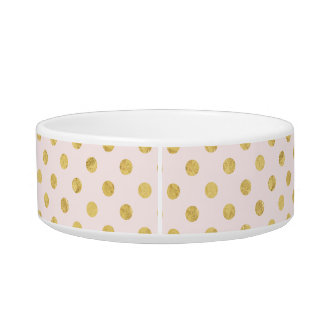 Elegant Gold Foil Polka Dot Pattern - Pink & Gold Bowl