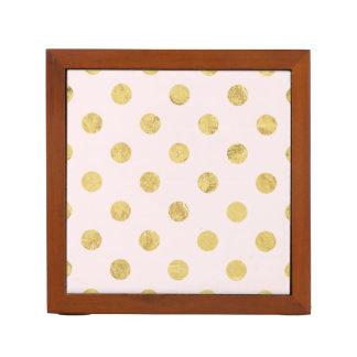 Elegant Gold Foil Polka Dot Pattern - Pink & Gold Desk Organiser