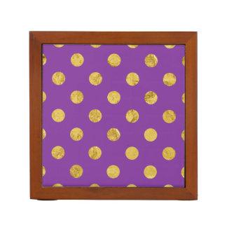Elegant Gold Foil Polka Dot Pattern - Purple Desk Organiser