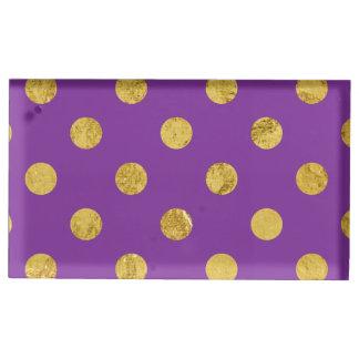 Elegant Gold Foil Polka Dot Pattern - Purple Table Card Holders
