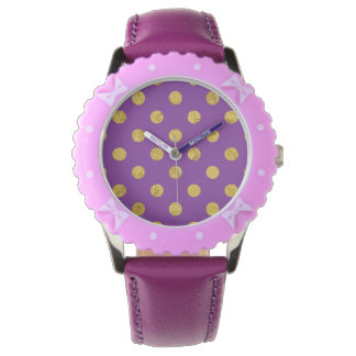 Elegant Gold Foil Polka Dot Pattern - Purple Wrist Watches