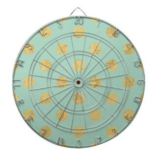 Elegant Gold Foil Polka Dot Pattern - Teal Gold Dartboard