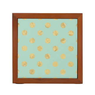 Elegant Gold Foil Polka Dot Pattern - Teal Gold Desk Organiser