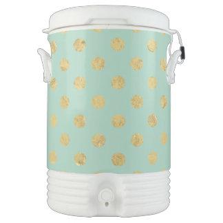 Elegant Gold Foil Polka Dot Pattern - Teal Gold Drinks Cooler