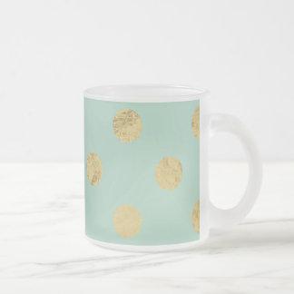 Elegant Gold Foil Polka Dot Pattern - Teal Gold Frosted Glass Coffee Mug
