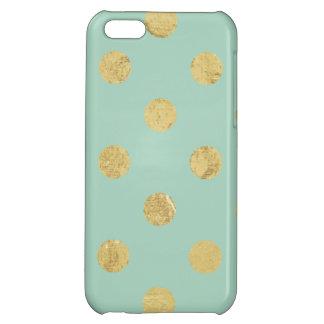 Elegant Gold Foil Polka Dot Pattern - Teal Gold iPhone 5C Cover