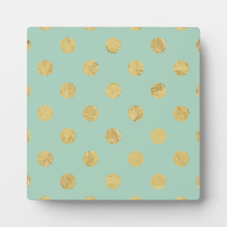 Elegant Gold Foil Polka Dot Pattern - Teal Gold Plaque