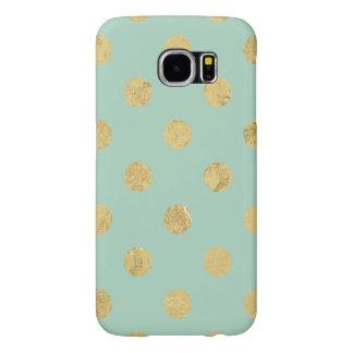 Elegant Gold Foil Polka Dot Pattern - Teal Gold Samsung Galaxy S6 Cases
