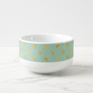 Elegant Gold Foil Polka Dot Pattern - Teal Gold Soup Mug
