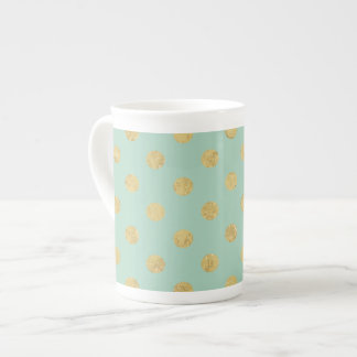 Elegant Gold Foil Polka Dot Pattern - Teal Gold Tea Cup