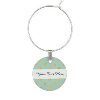 Elegant Gold Foil Polka Dot Pattern - Teal Gold Wine Charm