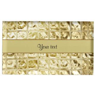 Elegant Gold Foil Squares Table Card Holder