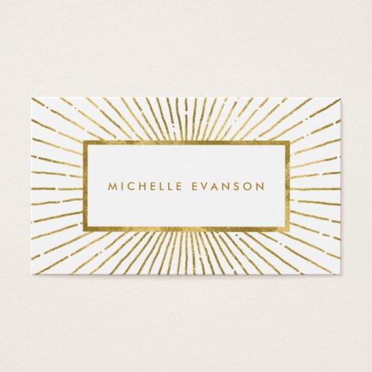 Elegant Gold Foil Sunburst Modern Professional Business Card