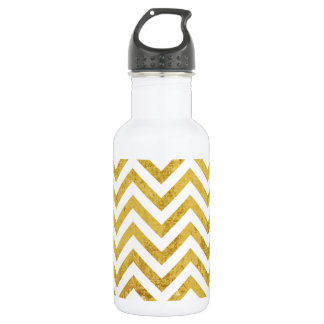 Elegant Gold Foil Zigzag Stripes Chevron Pattern 532 Ml Water Bottle