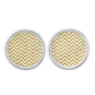 Elegant Gold Foil Zigzag Stripes Chevron Pattern Cufflinks