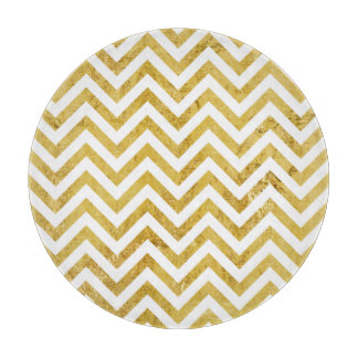 Elegant Gold Foil Zigzag Stripes Chevron Pattern Cutting Board